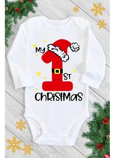 Happy Onesie Co First Christmas Uzun Kol Çıtçıtlı Body Beyaz